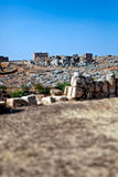 Syria - The Dead Cities. Serjilla is one of the Dead Cities in Syria. Unique among Roman / Byzantine ruins and suddenly abandoned in the past. Tilt-shift shot royalty free stock image