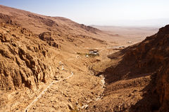 Syria - Deir Mar Musa al-Habashi Nebek. Path to Monastery of Deir Mar Musa al-Habashi Nebek, Syria. Place of multi religion dialogue Stock Photo