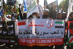 Syria demonstration Stock Images
