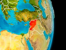 Syria on Earth. Syria in red on planet Earth with visible borderlines. 3D illustration. Elements of this image furnished by NASA Royalty Free Stock Photos
