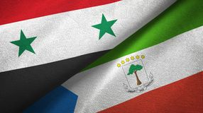 Syria and Equatorial Guinea two flags textile cloth, fabric texture. Syria and Equatorial Guinea two folded flags together stock illustration