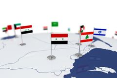 Syria flag. Country flag with chrome flagpole on the world map with neighbors countries borders. 3d illustration rendering flag Stock Images