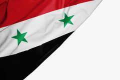 Syria flag of fabric with copyspace for your text on white background royalty free illustration