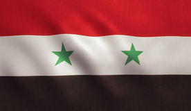 Syria Flag. With fabric texture Royalty Free Stock Photos