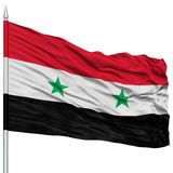 Syria Flag on Flagpole. Flying in the Wind, Isolated on White Background Stock Image