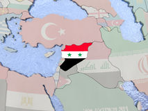 Syria with flag on globe Royalty Free Stock Image