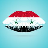 Syria Flag Lipstick On The Lips Isolated On A White Background. Vector Illustration. Royalty Free Stock Image