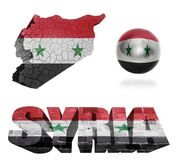 Syria Symbols. Syria flag and map in different styles in different textures Royalty Free Stock Images