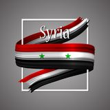 Syria flag. Official national colors. Syrian 3d realistic stripe ribbon. Vector icon sign background. stock illustration