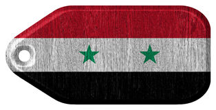 Syria flag. Painted on wooden tag Stock Photo