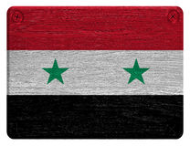 Syria flag. Painted on wooden tag. isolated on white background, wooden texture Royalty Free Stock Photo
