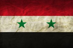 Syria Flag on Paper. Flag on an old Paper Texture Royalty Free Stock Photo
