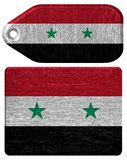 Syria flag. Painted on wooden tag Stock Image