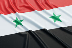 Syria flag. Wavy fabric high detailed texture. 3d illustration rendering Royalty Free Stock Image
