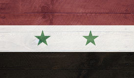 Syria flag on wood boards with nails Royalty Free Stock Photo