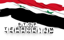 Syria flag and write stop terrorism. Royalty Free Stock Photos