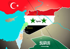 Syria geopolitical map with proposed oil pipeline.  Royalty Free Stock Image