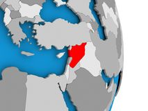Syria on globe. Syria in red on model of political globe. 3D illustration Royalty Free Stock Photo
