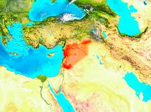 Syria in red on Earth. Syria highlighted in red on planet Earth. 3D illustration. Elements of this image furnished by NASA Stock Photos