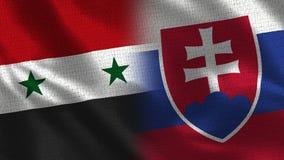 Syria i Sistani tkaniny tekstura - Dwa flaga Wpólnie - zdjęcie royalty free