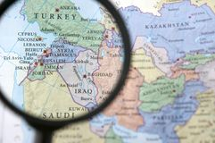 Syria and Iraq on a map. Seen through a magnifying glass Stock Image