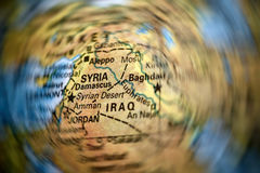 Syria and Iraq map. On a globe stock images