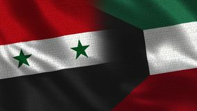 Syria and Kuwait - Two Flag Together - Fabric Texture stock photography