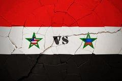 SYRIA, 14 2018 Kwiecień - usa vs Rosja nad Syrią ilustracja wektor
