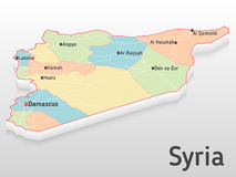 Syria map 3d with main cities and governorates. Volumetric map with cities and roads Royalty Free Stock Photos