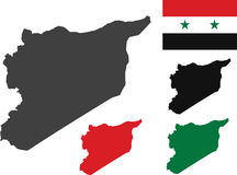 Syria map. With Syria flag vector Stock Images