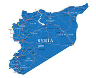 Syria map. Highly detailed vector map of Syria  with administrative regions, main cities and roads Royalty Free Stock Photos