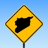 Syria map on road sign. Square poster with Syria country map on yellow rhomb road sign. Vector illustration royalty free illustration