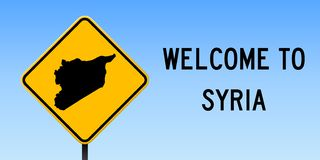 Syria map on road sign. Wide poster with Syria country map on yellow rhomb road sign. Vector illustration royalty free illustration