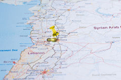Syria map with roads tsvaeta red and marked with a pin in the se Royalty Free Stock Photo