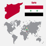 Syria map on a world map with flag and map pointer. Vector illustration Stock Photo