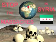 Syria massacres. Syria flag free and sky black Stock Images