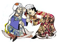 Syria men, reproposed by ancient drawings royalty free stock photos