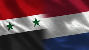 Syria and Netherlands - Two Flag Together - Fabric Texture. Realistic Flags stock photos