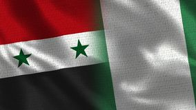 Syria and Nigeria - Two Flag Together - Fabric Texture stock photo