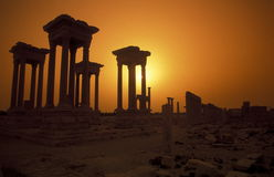 SYRIA PALMYRA ROMAN RUINS. The Roman Ruins of Palmyra in Palmyra in the east of Syria stock photography