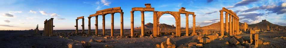 Syria , Palmyra. The ruins of the ancient city in the Syrian desert Stock Photo
