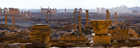 Syria , Palmyra. The ruins of the ancient city in the Syrian desert Royalty Free Stock Photography