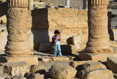 Syria , Palmyra. The ruins of the ancient city in the Syrian desert Stock Photos