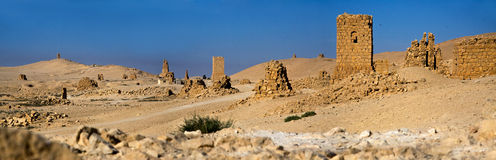 Syria , Palmyra. The ruins of the ancient city in the Syrian desert Stock Images