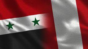 Syria and Peru - Two Flag Together - Fabric Texture. Realistic Flags stock photography