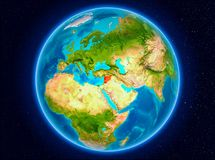 Syria on Earth. Syria in red from Earth's orbit. 3D illustration. Elements of this image furnished by NASA Stock Images