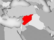 Map of Syria. Syria in red on grey political map. 3D illustration Royalty Free Stock Photography
