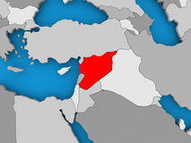 Map of Syria. Syria in red on political map. 3D illustration Stock Images