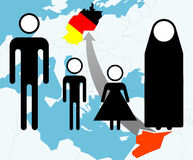Syria Refugees (pictogram on a map). Pictogram of a refugee family on a map Stock Images