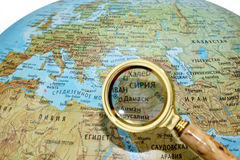 Syria on Russian globe Stock Photos